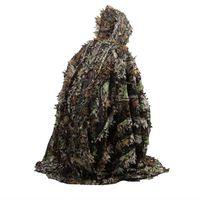 Caccia camo 3d foglia mantello yowie ghillie traspirante aprire il poncho tipo camuffamento birdwatching poncho a vento giacca da sniper cecchino