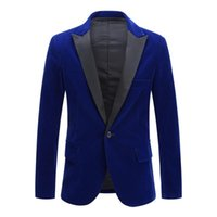Vogue Men Autumn Winter Velvet Wine Red Fashion Leisure Suit Jacket Wedding Groom Slim Fit Blazer Hombre Masculino