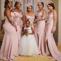 Czarne dziewczyny Syrenka Druhna Dress Side Side Split Illusion Długie Rękawy Aplikacje Wedding Party Dress African Maid of Honor Suknia Plus Size