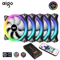 Case Aigo PC 140mm Fan RGB Aura Sincronização 3P-5V Fan refrigerador PC CPU CPU Caler Situado com IR Remote LED LED caso de computador Radiador Fans1
