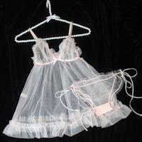 Lilicochan Fairy Peach Girl mignon Col V-Col V Perspective Sexy Nightdress Sous-vêtements Rose Sleep Height Set Lenenceria Femenina Q1125