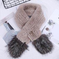 Suppevstddio 2020 Новый роскошный женский зимний меховый шарф из подлинного механизма Rex Furrish Wrves вязаные серебряные шарфы
