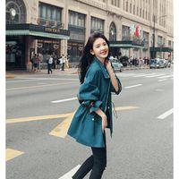Trench da donna Biuzko Vita regolabile Cappotto allentato per le donne Britannici Casual Casual Cute European Vendita Giappone Style Catcoat catcoat