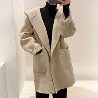 Kadın Yün Karışımları [EWQ] 2021 Kış Turn-down Yaka Yulaf Siyah Uzun Kollu Katı Renk Düz Minimalist Hoodie Yün Palto B