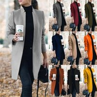 Sonbahar Kış Moda Hırka Katı Standı Yaka Kadın Yün Ceket Kadın Uzun Ceketler Mont Boyutu S-5XL Y201012