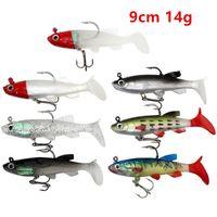 7 цветных смешанных 9 см 14 г джигов рыболовные крючки рыболовные рыбы 8 # крюк мягкие приманки приманки B8_202