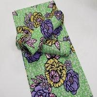 Di buona qualità Morbido Golden African Real Wax Stampe Tessuto Materiale di cotone Ankara Pagne Colore verde per abito da sposa regalo