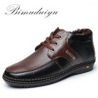 Çizmeler Bimuduiyu Stil Satış Mikrofiber Deri Casual erkek Tek Ve Kadife Sıcak Boot Dantel-Up Ayakkabı Dikiş Trend1