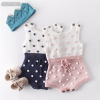 Knitted Clothes Newborn Pompom Girl Sleeveless Cotton Baby Boy Romper Infant Jumpsuit 201026