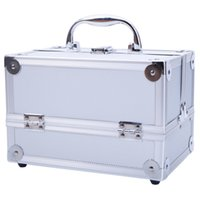 Aluminum Make up Cosmetics Case Makeup Box Lockable Handle C...