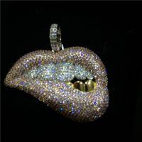 الهيب هوب مثلج من قلادة كبيرة الفم الماس الأسنان المشاوي قلادة قلادة بلينغ مجوهرات للرجال النساء