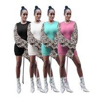 2020 النساء اللباس ليوبارد المطبوعة خياطة الرباط أنيقة الألواح النفخة كشكش الغلاف الخريف الشتاء تخلص من جديد أزياء تنورة طويلة