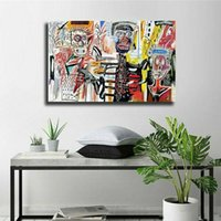 Jean Michel Basquiat Graffiti Art Pittura a olio colorato Abstract Poster Stampe Canvas Wall Art Pictures Bedroom Modern Home Decor
