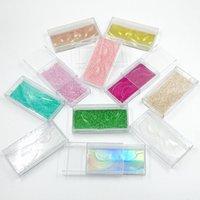 الجملة 25MM الرموش صندوق مستطيل بلاستيكية شفافة جلدة 3D صناديق حالة مستحضرات التجميل الرموش الصناعية التغليف وهمية رمش صناديق التخزين