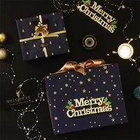 Подарочная упаковка упаковки бумаги металлик цвет темно-синяя печать золотые бумаги 73 * 51 см новогодняя елка снежинка декоративный узор новый 0 66WK N2