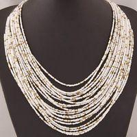 Kedjor 6 Färg Böhmen stil Multi-Layer Bib uttalande krage glas pärlstav choker halsband mode smycken för kvinnor grossist