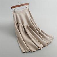 Sherhure Yüksek Bel Yün Örme Kadın Kış A-Line Uzun Etek Streç Kadınlar Sıcak Bej Etek Faldas Jupe Femme SAIA Y200326