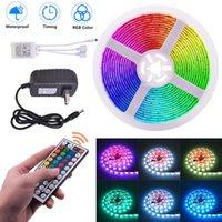 Kunststoff 150-LED 12V-5050RGB IR44 Dimmbarer Lichtstreifensatz mit IR-Fernbedienung LED-Streifen (weiße Lampenplatte) Kostenlose Lieferung