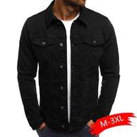 Erkek Ceketler 2021 Katı Renk Kot Denim Ceket Erkekler Moda Sonbahar Ince Erkek Rahat Mont Turn-down Yaka Streetwear