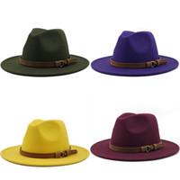 البساطة كاب الكنيسة الجاز الجلود كبيرة بريم قبعة حزام أنيقة الصوفية امرأة رسمي القبعات نمط البريطانية الخريف الشتاء 13xg k2