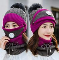 Máscaras sombreros de punto bufanda Set 3 piezas / set Gorros Con la válvula Máscara bufanda de lana Pompon Sombrero Casual Juegos Winter Party Supplies sombreros del partido CCA12628