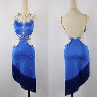 Sahne Kadınlar Için Latin Dans Elbise Giymek Mavi Saçak Rhinestone Flamengo Tango Salsa Balo Salonu Kostümleri Rekabet BL1281