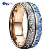 결혼 반지 밝은 파란색 탄소 섬유 화이트 유도 인레이와 남성과 여성을위한 금 밴드 텅스텐 로즈 골드 밴드 텅스텐