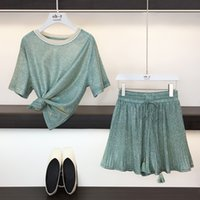 Hamaliel Tatlı Yaz Iki Parçalı Set Moda Kadınlar Yeşil Bling Kısa Kollu Gevşek T-Shirt Üst Suits + Pileli Geniş Bacak Şort Set Y200512