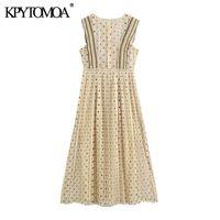 KPYTOMOA Women 2020 Chic Fashion With Lace Polka Dot Pleated Midi Dress Vintage Back Zipper With Lining Female Dresses Vestidos