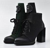 Çizmeler Bayan Sivri Burun Ayak Bileği Siyah Boncuk Elmas Dekor Dantel Yukarı Yan Fermuar Blok Yüksek Topuk Ayakkabı Motosiklet Punk C9251