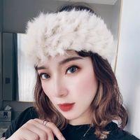 Зимние аксессуары для волос настоящий кролик шерсть шерсть волосы повязка на голову женское теплые меховые соломенные шляпы ретро широкий краевые плюшевые повязки женщин осень