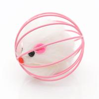 Jouet interactif de la souris peluche drôle à l'intérieur de la cage de fil mignon animal de compagnie gratter des chats ronds Fournitures jouissant de haute qualité 1 2CX K2