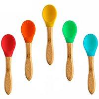 Bebé cuchara silicona vajilla infantil auxiliar auxiliar vajilla niños mango de madera niños entrenamiento cucharas de cocina accesorios de cocina vtky2202
