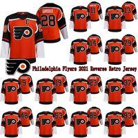 Filadélfia Flyers 2021 Reverse Retro Jersey 28 Claude Giroux 13 Kevin Hayes 79 Carter Hart 17 Wayne Simmonds Hockey Jerseys