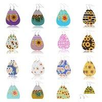Pendientes de lágrimas de piel sintética imprimida de alta calidad para girasol Pendientes de flores en capas coloridas Pendientes de gota de agua Regalos creativos 86Y0X
