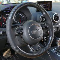 Couvercle de roue de voiture personnalisé de bricolage personnalisé pour Audi A1 A3 A4 A5 A6 A5 A6 C7 A7 A8 D4 Q3 Q5 Q5 Couture de la main en cuir de charbon en cuir de charbon