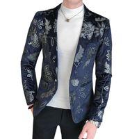 Men's Blazer Casual Vintage Turn Down Collar Long Sleeve Print Floral Coat Jacket Dance Party Blouse Business Style Dress Suit