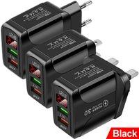 LED عرض الاتحاد الأوروبي الولايات المتحدة المملكة المتحدة QC30 سريع شاحن سريع AC Home Travel Dual USB شاحن الجدار ل iPhone 7 8 Plus 11 Samsung GPS PC