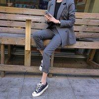 Calças de negócios de moda conjuntos uniformal casaco de peito duplo formal e longa calça blazer preto conjunto mulheres 2 peças fatos