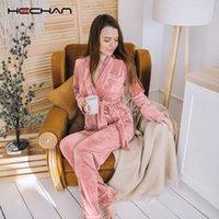 Higheck Rose Velvet Pyjamas Femmes Deux Morceau Set chaud Poche longue manches longues robes et pantalons femme costume de nuit occasionnel épais vêtements de nuit Q1201