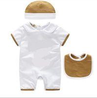 3 unids conjuntos para bebés niñas chicas mamelas de algodón de algodón manga corta mansiones verano infantil onesies mameluco + babero + sombrero ropa para niños
