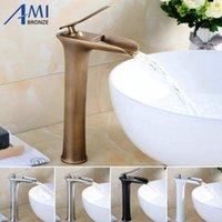 Amibronz Şelalesi Havzası Musluk Pirinç Mikser Sıcak Soğuk Mikser Havzası Dokunun Beyaz / Krom / Siyah / Antika Banyo Bataryaları 8882s1