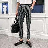 British Style Autumn Casual Dress Pantaloni Pantaloni a striscia Pantaloni da uomo Designer Brand Designer Slim Fit Mens Suit Pant Gentlemen Abbigliamento uomo 201109