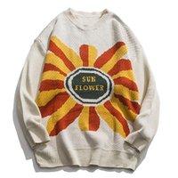 Sweaters pour hommes Lacible Harajuku Pull Sunflower Jacquard Jacquard Brodé Streetwear Hip Hop Retro Autu