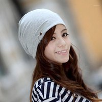 겨울 Skullies 패션 비행 여성을위한 순수한 컬러 모자 니트 모자 따뜻한 남자 모자 원 버튼 여러 가지 빛깔의 도매 1