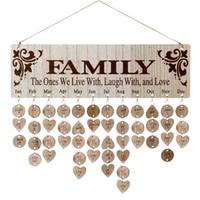 Beste Geschenke für Mütter Holzfamilie Geburtstag Erinnerungskalender Bord DIY Jubiläum Tracker Plakette Wandbehang mit Tags R 37 K2
