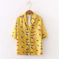 Blouses Femmes Chemises JCGO Summer Femmes Blouse Chemison Casual Imprimé Jaune Streetwear Style coréen Chic Femelle Manches courtes