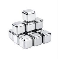 4pcs / 세트 골드 큐브 얼음 냉동 금형 세트 스테인레스 스틸 금속 모델 집게 커피 음료 위스키 바 아이스 와인 스톤 크리 에이 티브 용품 HHE3418