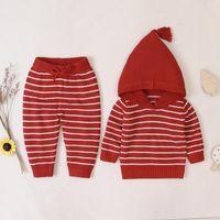 Giyim Setleri 0-3 T Yürüyor Çocuk Erkek Bebek Kız Kintted Giysileri Set Uzun Kollu Kapşonlu Çizgili Kazak Üst Ve Pantolon Takım Sevimli Kış Sıcak Outfi
