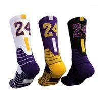 Chaussettes pour hommes Automne Bas de basketball Bas antidérapants Stripes de couleurs Sports Star Star Numéro d'une serviette épaissie pour hommes femmes1